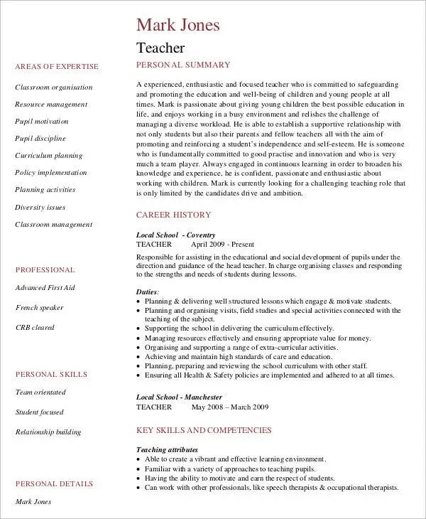 Curriculum Vitae Cv Samples And Writing Tips The Balance 9 Teaching Curriculum Vitae Free Sample Example Format