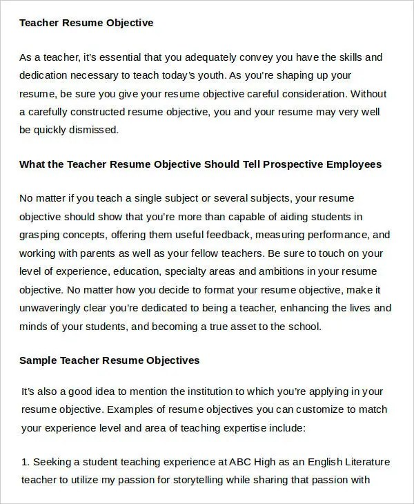 Teacher Resume Sample - 32+ Free Word, PDF Documents Download Free - resume objective for teaching