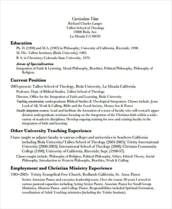 10+ Sample Teaching Curriculum Vitae Templates - PDF, DOC Free
