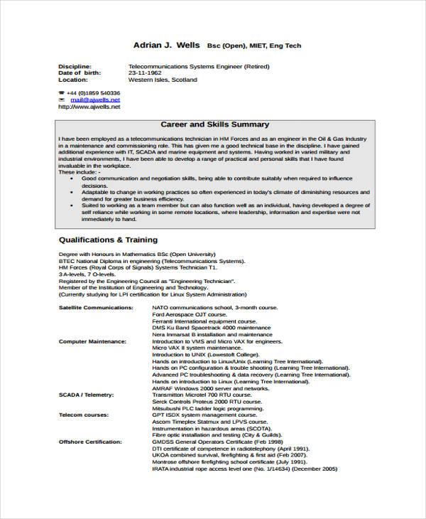 10+ Maintenance Resume Templates - PDF, DOC Free  Premium Templates - telecommunication technician resumes