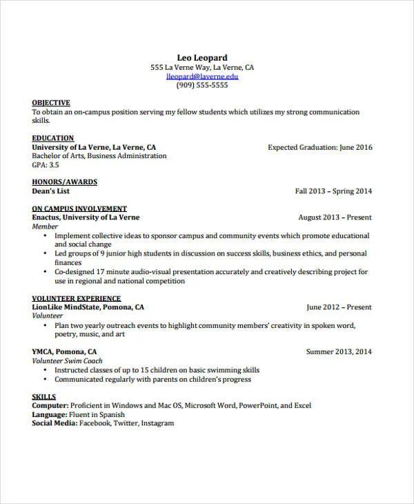 undergraduate cv template word