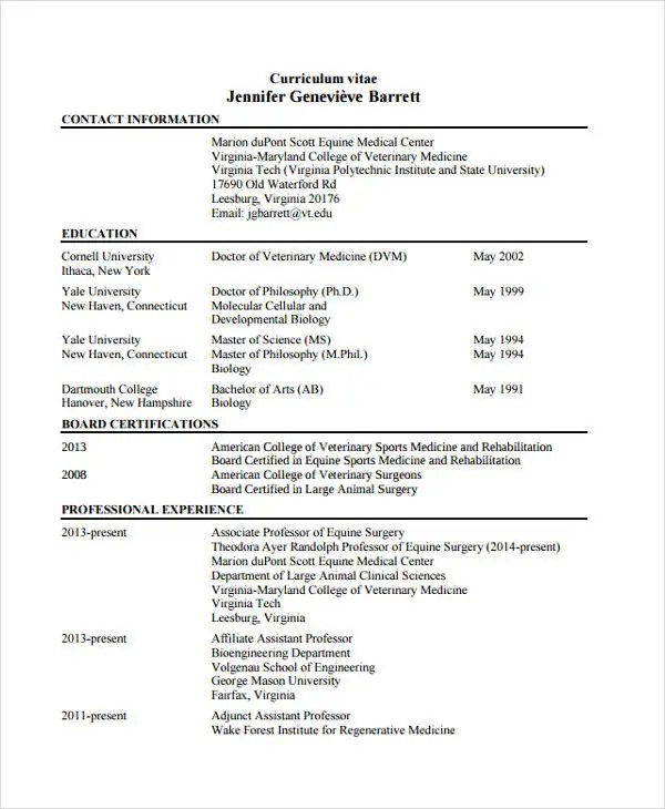 curriculum vitae veterinary doctor professional resumes sample