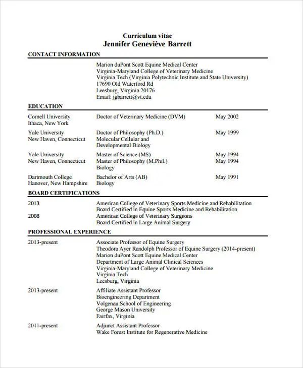 curriculum vitae veterinary doctor