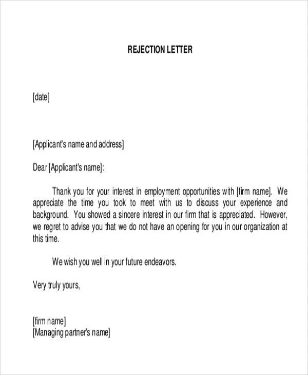 36+ Rejection Letter PDF Free  Premium Templates - employment rejection letter