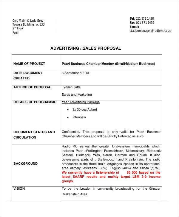 11+ Advertising Business Proposal Templates - Free Sample, Example - advertising proposal template