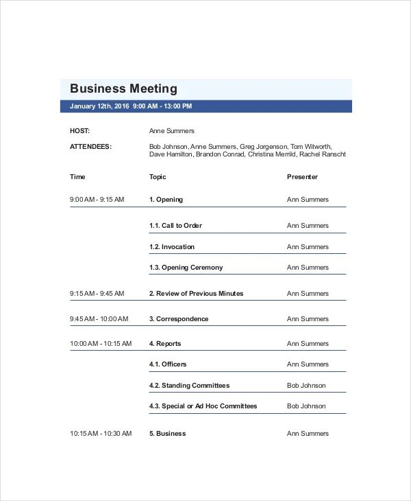 agendas for meetings examples