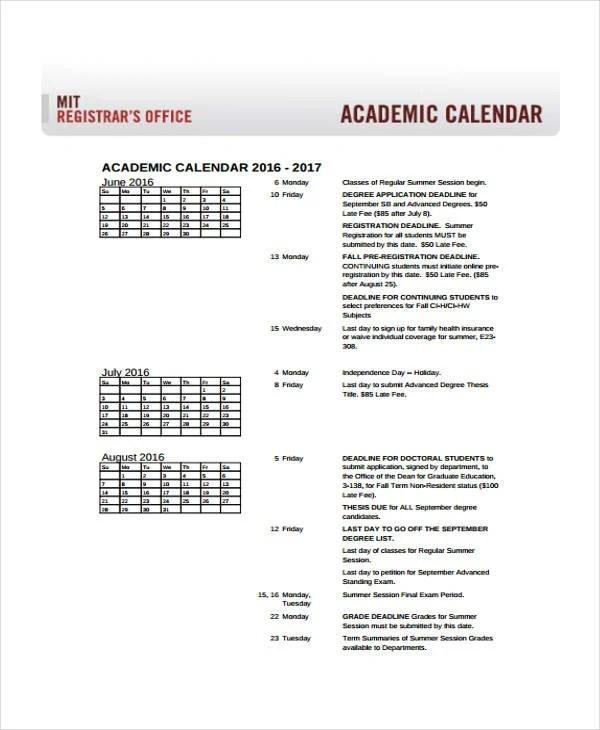 9+ Academic Calendar Templates - Free Sample, Example format - sample academic calendar