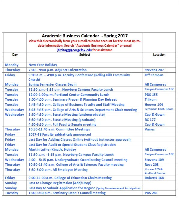 Sample Academic Calendar Academic Calendar Templates Free Sample - sample academic calendar