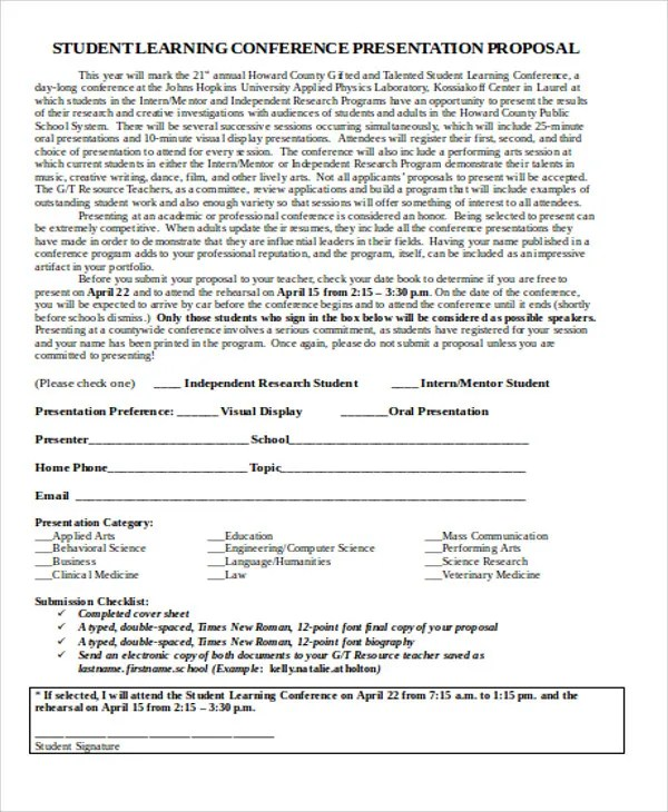 Conference Proposal Templates -7+ Free Word, PDF Format Download - academic proposal template