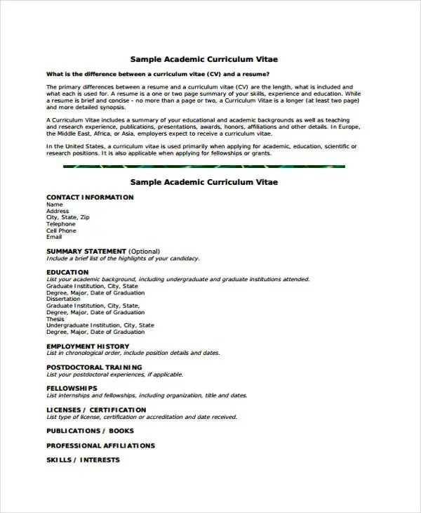 11+ Academic Curriculum Vitae Templates - PDF, DOC Free  Premium - Grant Researcher Sample Resume