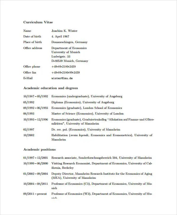 11+ Academic Curriculum Vitae Templates - PDF, DOC Free  Premium - Academic Cv Template