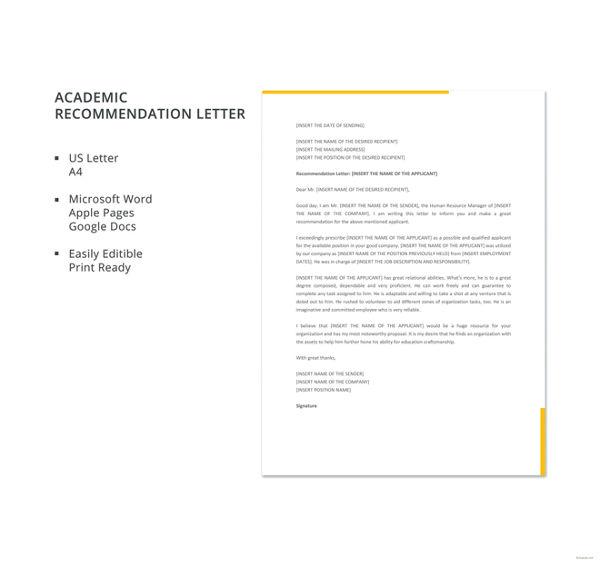 10+ Academic Recommendation Letters Free  Premium Templates - academic recommendation letter