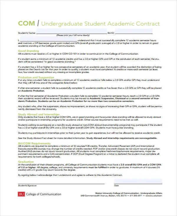 12+ Student Contract Templates - Free Sample, Example Format - student contract templates