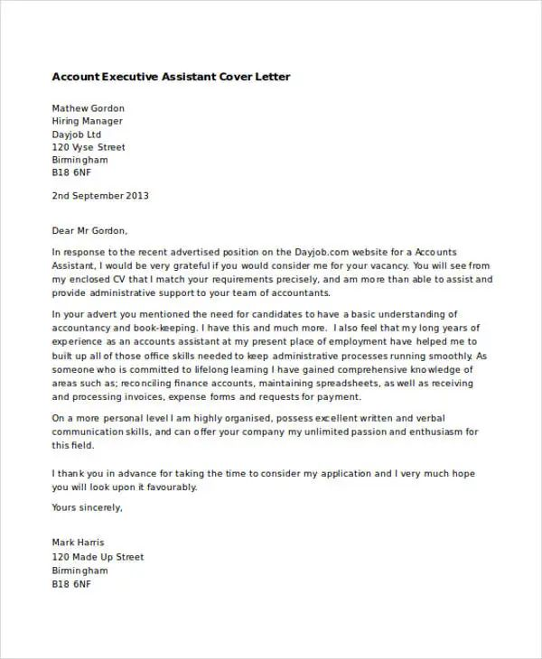 executive assistant cover letter email