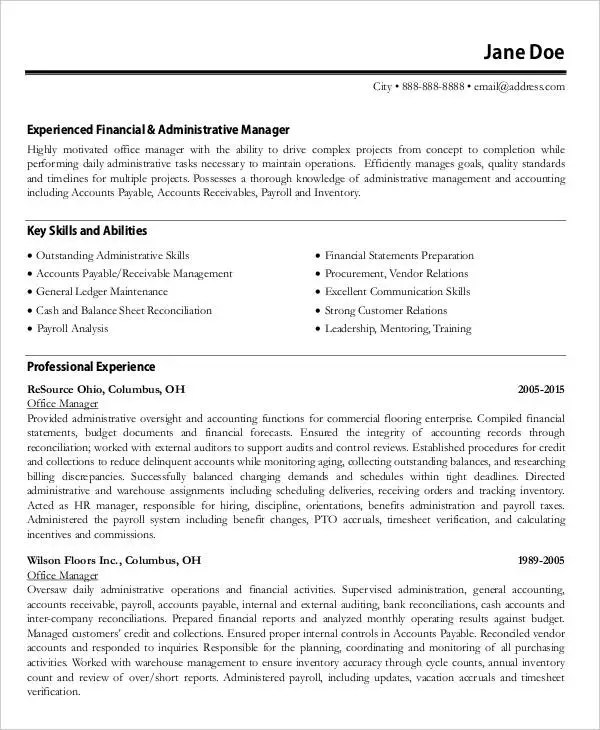 54 Manager Resumes in PDF Free  Premium Templates - finance manager resume