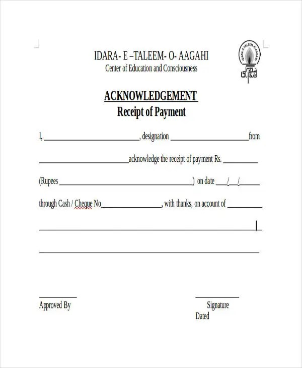 Acknowledgement Receipt Templates - 9+ Free Word, PDF Format