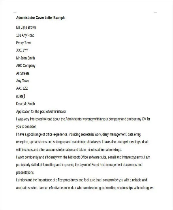 Admin Cover Letter | Pitch.billybullock.us
