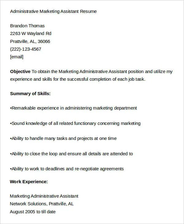 cover letter marketing assistant