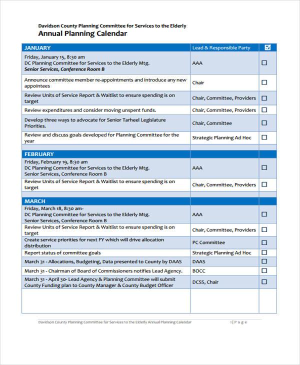 10+ Planning Calendar Templates - Free Sample, Example format