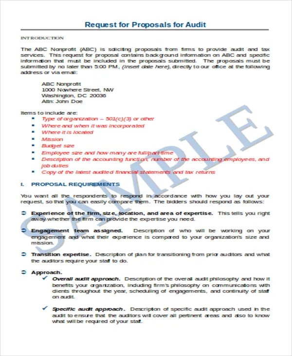 Audit Proposal Template best 25 sample of proposal letter ideas - audit quotation