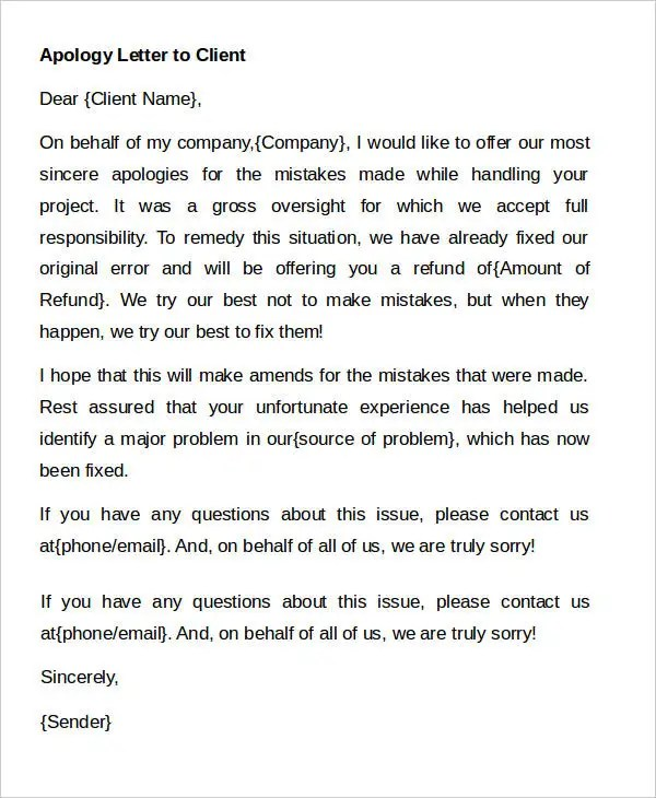 Apology Letter Templates in Word - 31+ Free Word, PDF Documents - how to make an apology letter