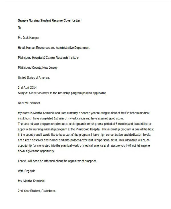 Internship Cover Letter - 10+ Free Word, PDF Format Download - application cover letters