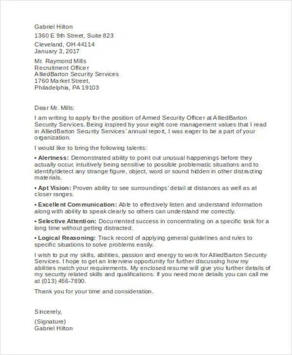 Armed Guard Cover Letter. armed security guard cover letter for ...