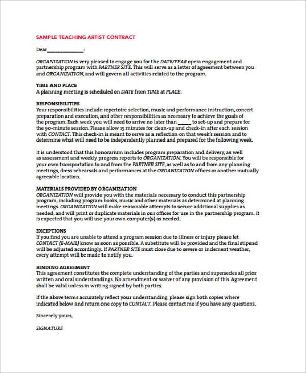 9+ Teacher Contract Templates Free \ Premium Templates - sample artist contract template