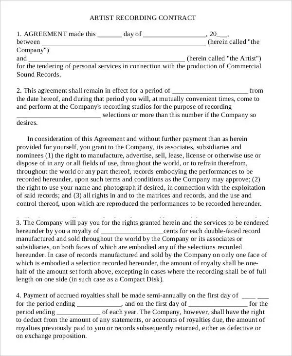 12+ Artist Contract Templates - Free Sample, Example Format Download - artist agreement contract