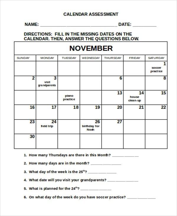 Assessment Calendar Templates - 9+ Free Word, PDF Format Download