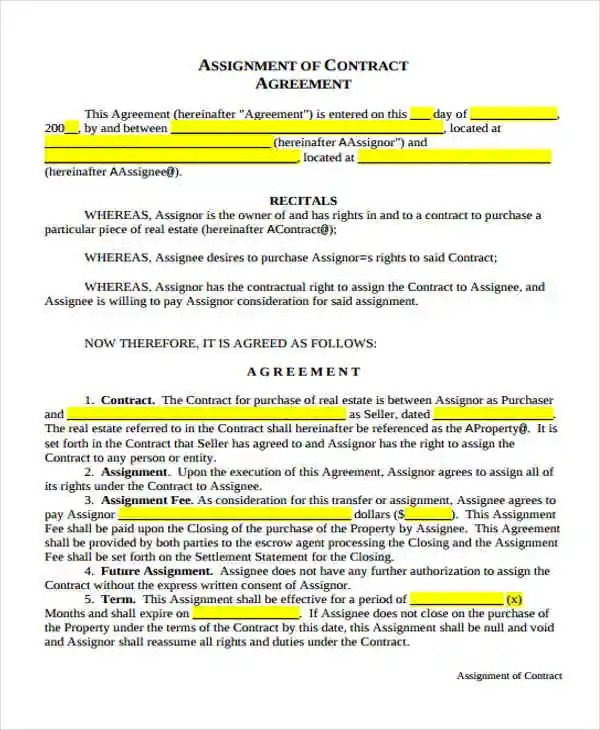 Assignment Agreement Templates - 11+ Free Samples, Examples, Format - assignment of contract