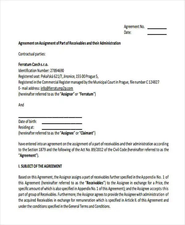 17+ Assignment Agreement Templates - Word, PDF, Pages Free