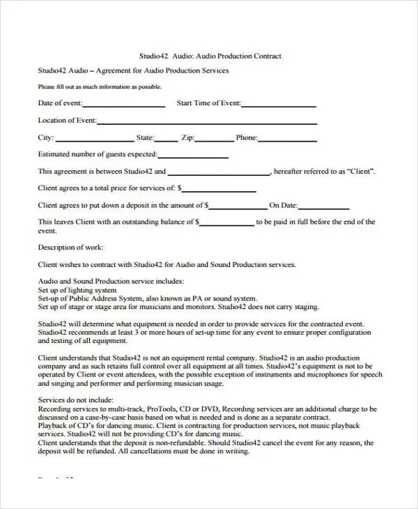 advertising contracts templates
