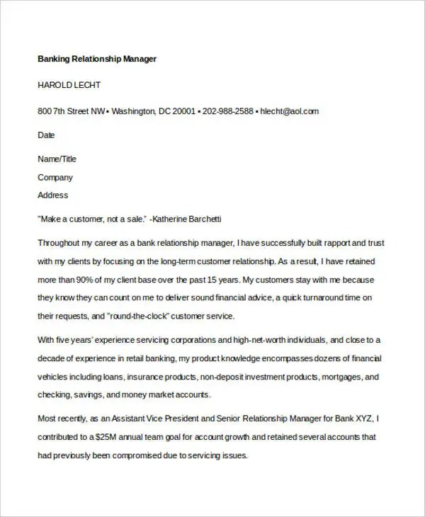 12+ Banking Cover Letter Templates - Sample, Example Free - bank cover letter
