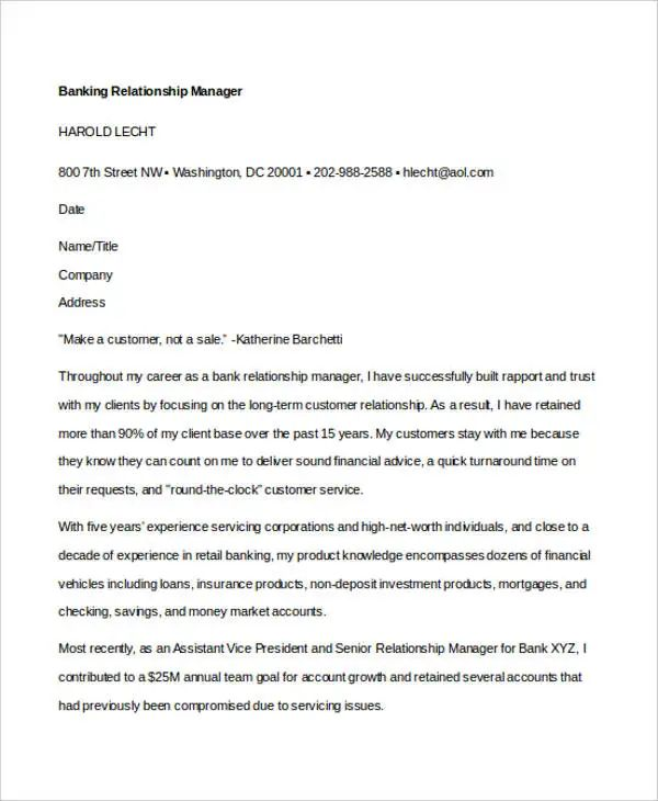 banking cover letter templates