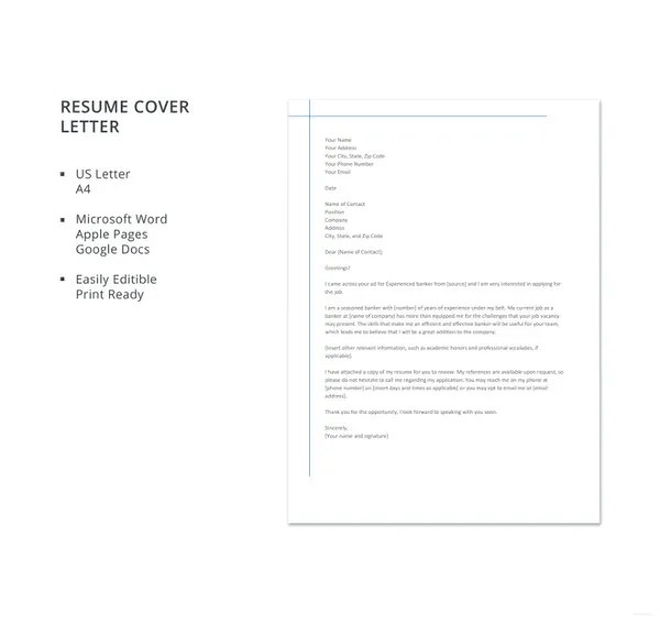 12+ Banking Cover Letter Templates - Sample, Example Free