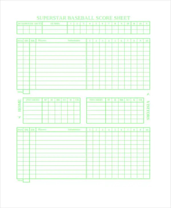 9+ Score Sheet Templates - Free Samples, Examples Format Download - baseball score sheet