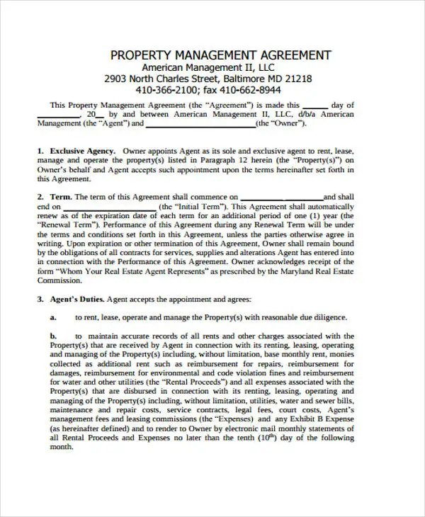 Management Agreement Templates -11 Free Word, PDF Format Download - management agreement