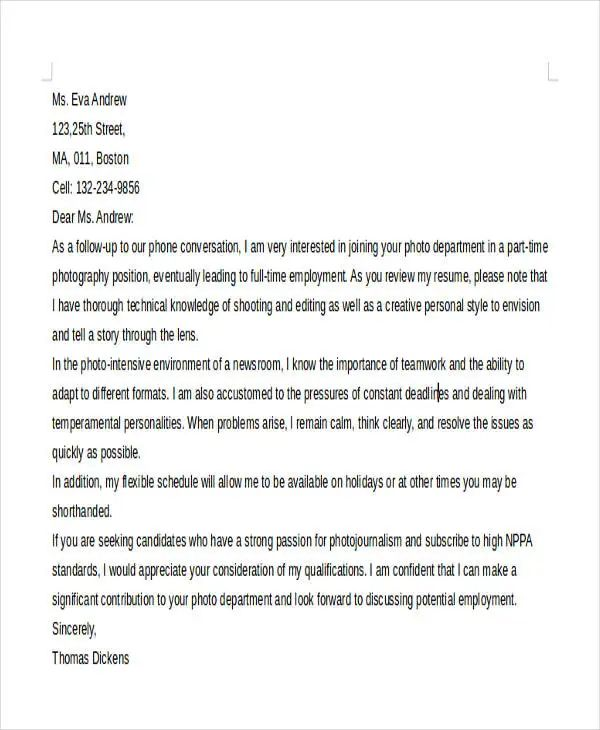 photographer cover letter template