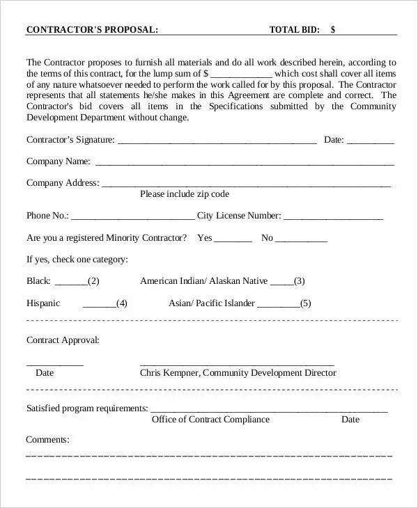 contract proposal sample pdf - Lookbookeyes - proposal samples