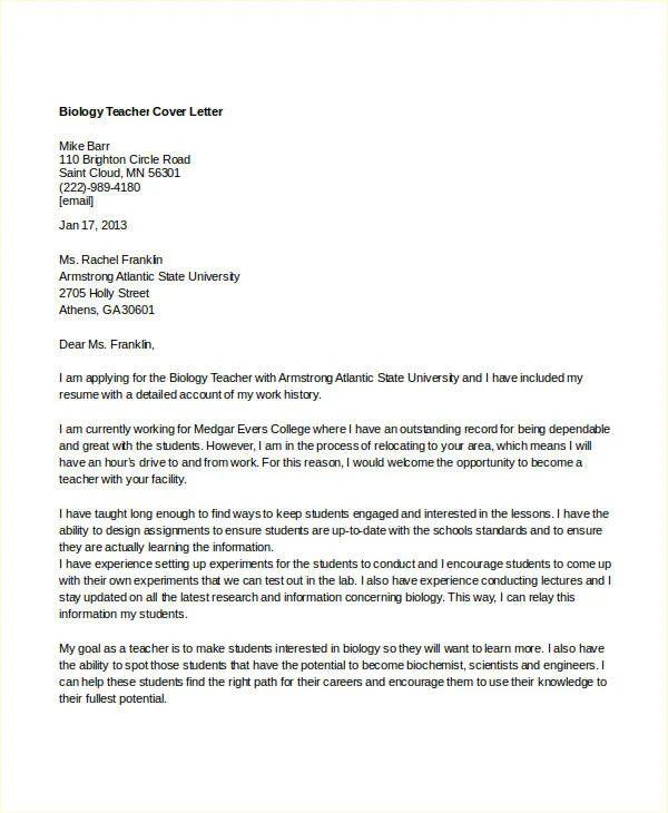 biology teacher resume cover letter