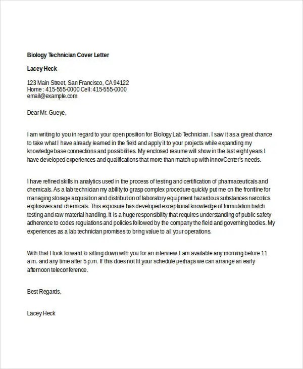 6+ Biology Cover Letters - Free Samples, Examples Format Download - cover letter for any open position