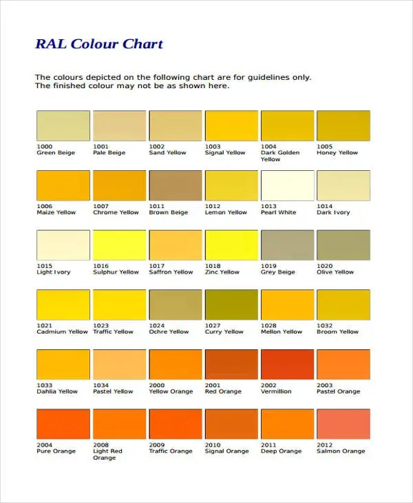 10+ Color Chart Templates - Samples, Examples Free  Premium Templates