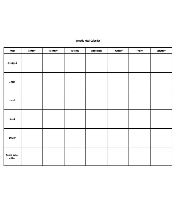 9+ Meal Calendar Templates - Free Sample, Example Format Download - meal calendar