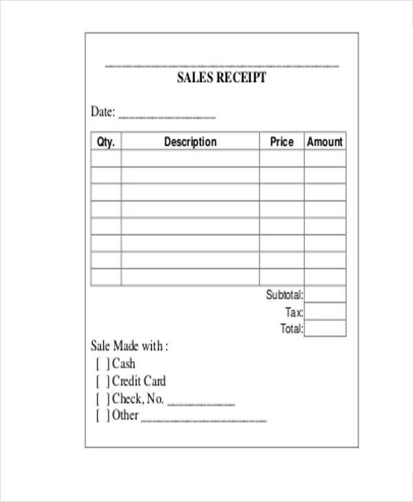 23+ Receipt Templates Free  Premium Templates - blank receipt