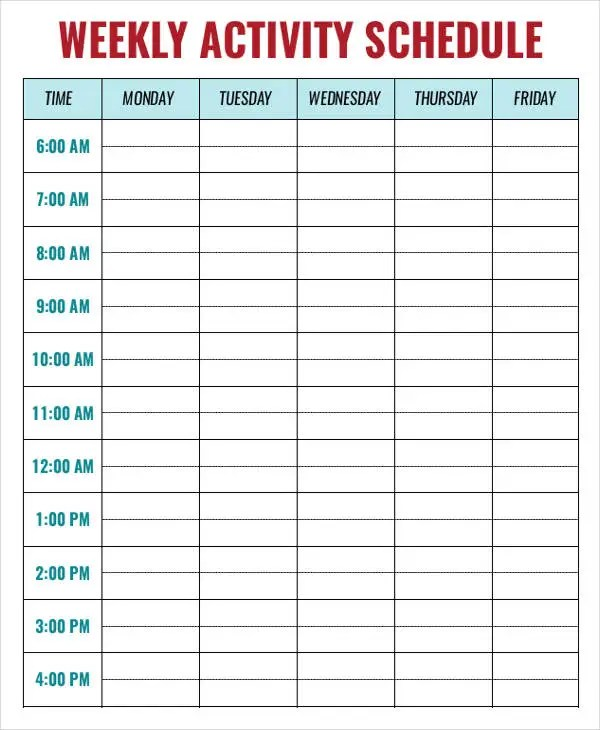 activity schedule template - Onwebioinnovate