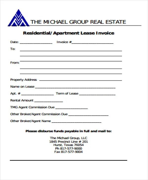 8+ Real Estate Invoice Templates - Word, PDF Free  Premium Templates - invoice form word