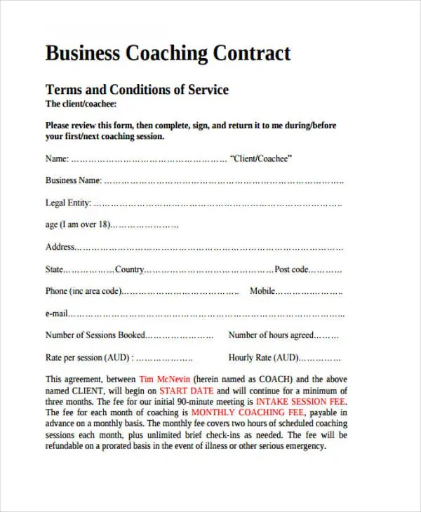 8+ Coaching Contract Templates - Free Sample, Example Format - professional athlete contract template