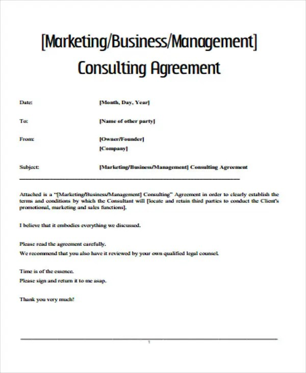 37+ Basic Agreement Templates Free  Premium Templates - simple consulting agreement
