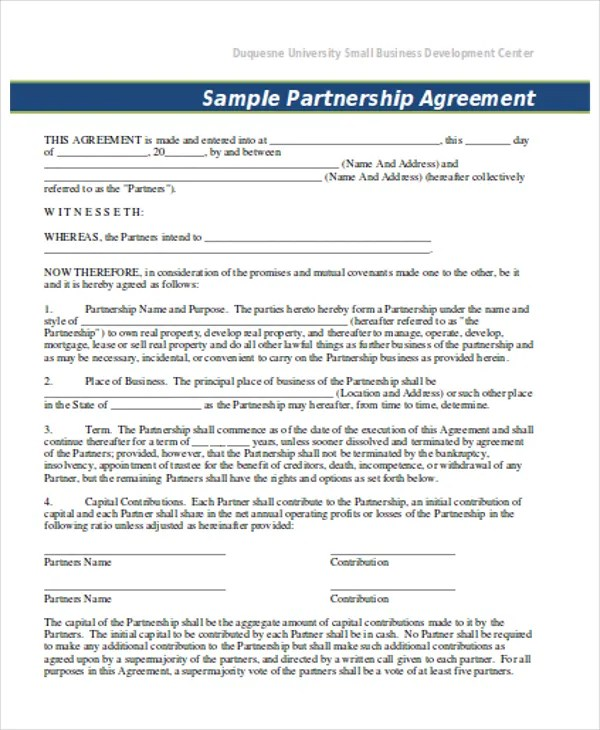 11+ Partnership Contract Templates - Word, PDF Free  Premium